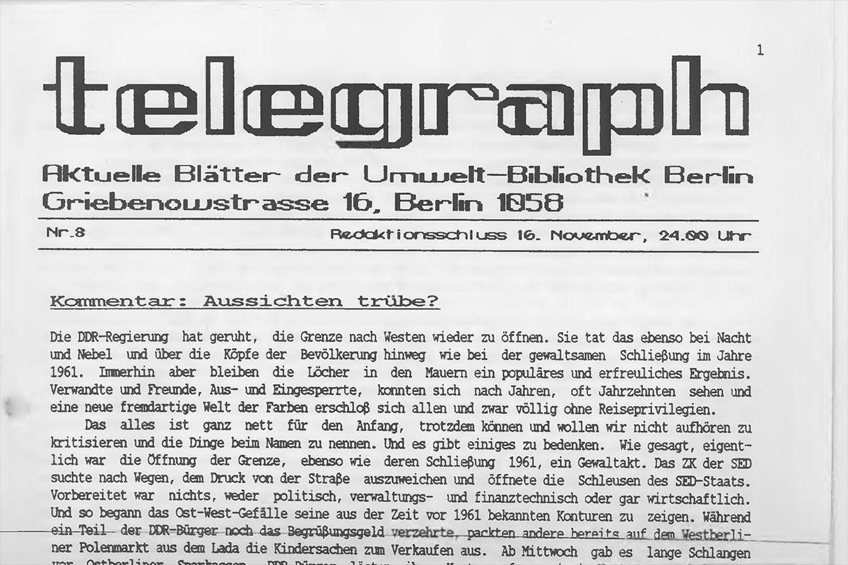 Deckblatt der DDR-Oppositions-Zeitschrift telegraph, Nr.8/89, vom 16. November 1989