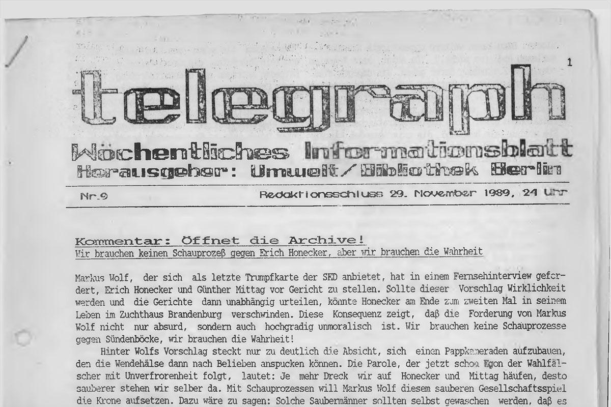 Deckblatt der DDR-Oppositions-Zeitschrift telegraph, Nr.9/89, vom 29. November 1989
