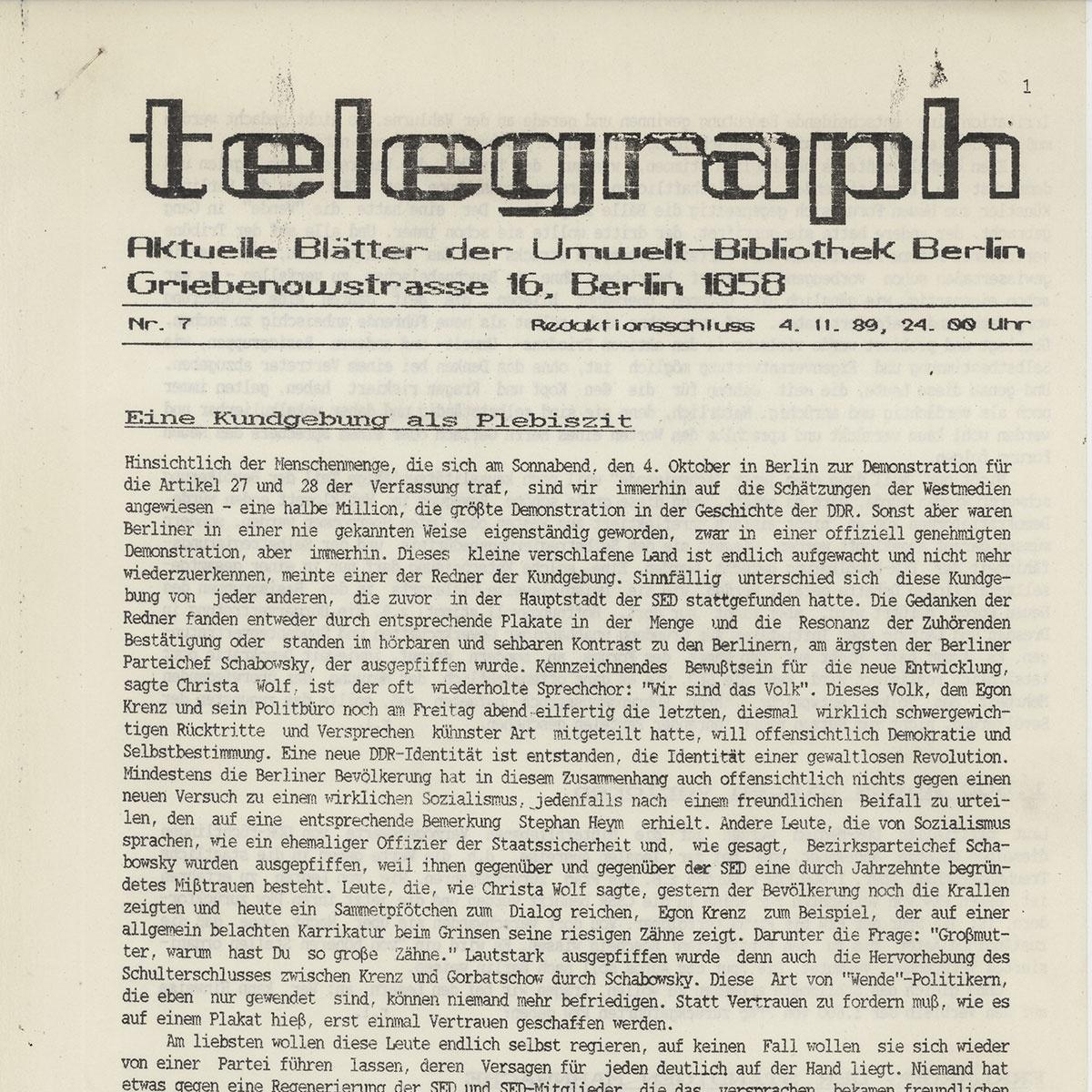 Deckblatt der DDR-Oppositions-Zeitschrift telegraph, Nr. 7/89, vom 4. November 1989