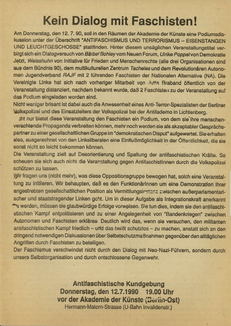 Flugblatt: Kein Dialog mit Faschisten!