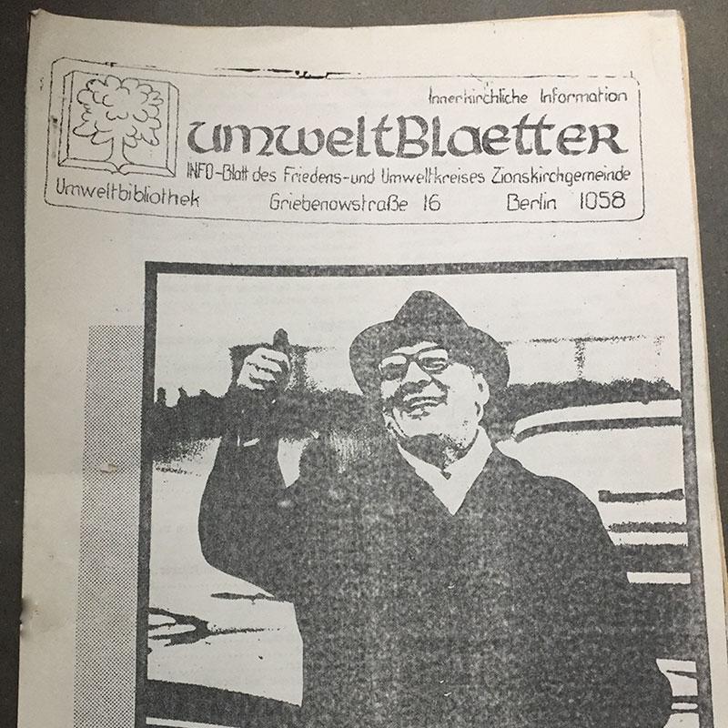 Deckblatt der DDR-Oppositions-Zeitschrift Umweltblätter, vom 27. September 1989